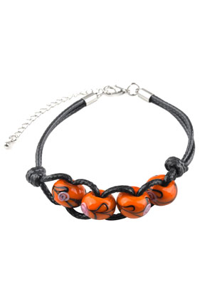 www.sayila.com - Bracelet with wax cord and glass beads 19-23cm