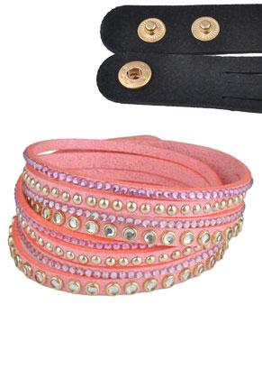 www.sayila.com - Imitation suede wrap bracelet with strass 17-19cm