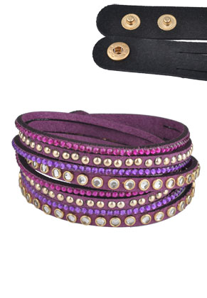 www.sayila.com - Imitation suede wrap bracelet with strass 17-19cm