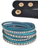 www.sayila.com - Imitation suede wrap bracelet with strass 17-19cm - J03629