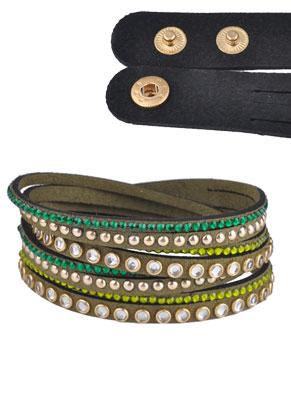 www.sayila.nl - Kunstsuede wikkelarmband met strass 17-19cm