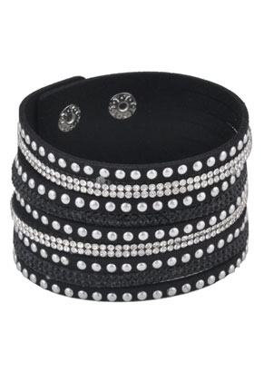 www.sayila.com - Imitation suede wrap bracelet with strass 17-20cm