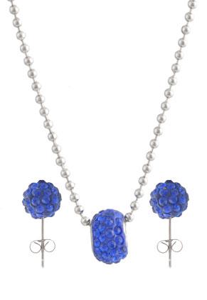 www.sayila.nl - Set van roestvrijstalen halsketting en metalen oorstekers met polymeerklei en strass