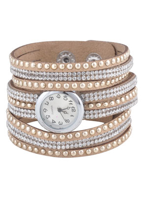 www.sayila.nl - Kunstsuède horloge (2,4cm) met strass 20cm