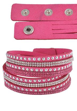 www.sayila-perlen.de - Kunstwildleder Wickelarmband doppelt mit Strass 17-19cm