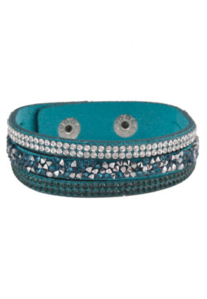 www.sayila.nl - Kunstsuede armband met strass 16-18cm