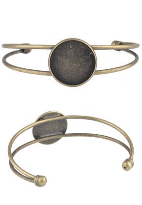 www.sayila.nl - Metalen cuff armband met kastje voor 20mm plaksteen