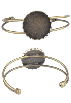 www.sayila.nl - Metalen cuff armband met kastje voor 25mm plaksteen