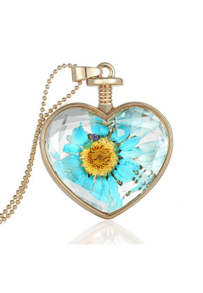 www.sayila.com - Metal necklace 59cm with glass pendant with flowers
