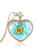 www.sayila.com - Metal necklace 59cm with glass pendant with flowers - J03901