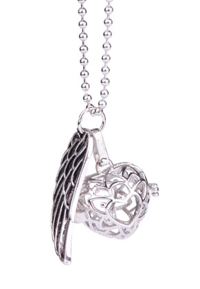 www.sayila.com - Necklace with angel caller/Prayer Box heart and pendant wing 65cm