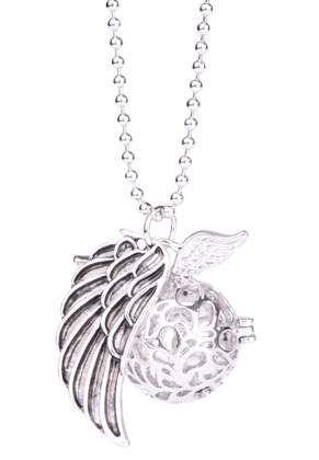 www.sayila.com - Necklace with angel caller/Prayer Box round and pendant wing 65cm