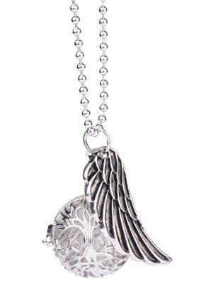 www.sayila.nl - Halsketting met engelenroeper/Prayer Box rond en hanger vleugel 65cm