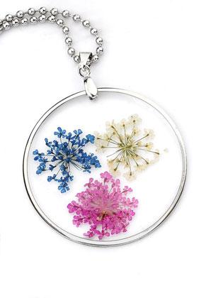 www.sayila.es - Collar con colgante de vidrio con flores secas 80cm