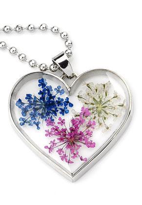 www.sayila.be - Halsketting met glashanger met gedroogde bloemen 80cm