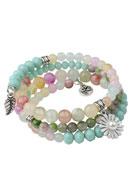 www.sayila.com - Avilana memory wire wrap bracelet with Afghanistan Jade beads 19cm - J04066