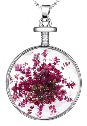www.sayila.com - Necklace with glass pendant with dried flowers 80cm