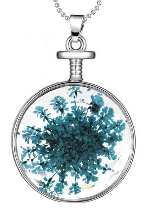 www.sayila.nl - Halsketting met glashanger met gedroogde bloemen 80cm
