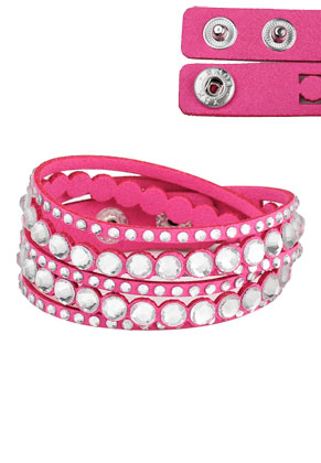 www.sayila.com - Imitation suede wrap bracelet with strass 17-18cm