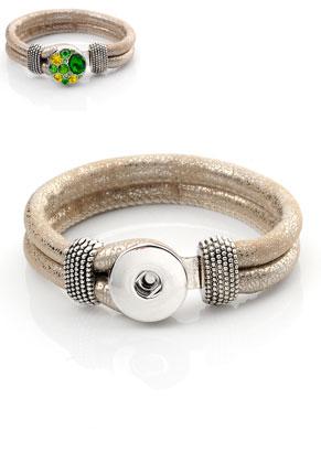 www.sayila.com - Imitation leather DoubleBeads EasyButton bracelet 19cm