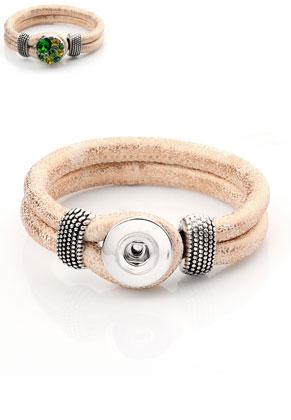 www.sayila.es - DoubleBeads EasyButton pulsera de cuero artificial 19cm
