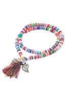 www.sayila.com - African vinyl style record disc wrap bracelet with tassel 17,5cm - J04180