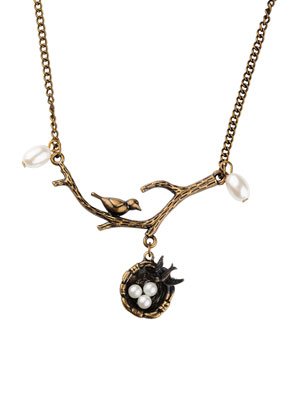 www.sayila.com - Necklace with bird on a branch and bird nest 58cm