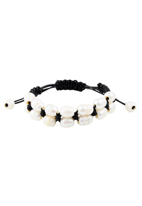 www.sayila.com - Bracelet with wax cord and glass freshwater pearl 18-22cm
