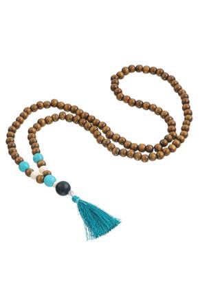 www.sayila-perlen.de - Mala Halskette mit Quaste (108 Perlen) 74cm