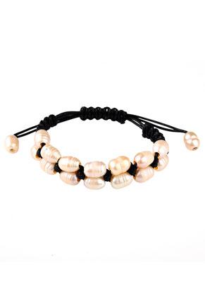 www.sayila-perlen.de - Armband mit Wachsschnur und Süsswasserperlen 18-22cm