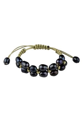 www.sayila.fr - Bracelet avec cordon ciré et perles en eau douce 18-22cm