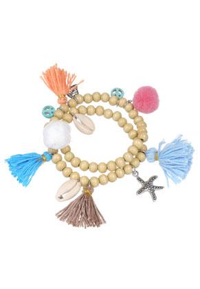 www.sayila.be - Wikkelarmband met schelpen, kwastjes en pompon balletjes 18,5cm