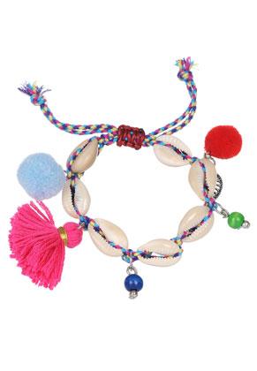 www.sayila-perlen.de - Armband mit Muscheln, Quaste und Pompons 18-22cm