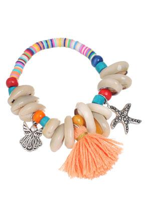 www.sayila.fr - Style vinyle Africaine bracelet record disc avec coquillages et pompon 18cm