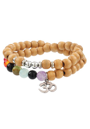www.sayila.com - Wrap bracelet with natural stone Rainbow Chakra 17cm