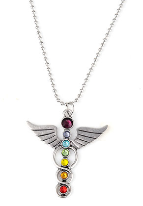 www.sayila.com - Necklace with Rainbow Chakra angel 80cm