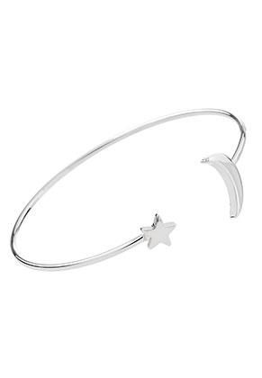 www.sayila.fr - Bracelet en brass manchette avec lune et étoile 17,5cm