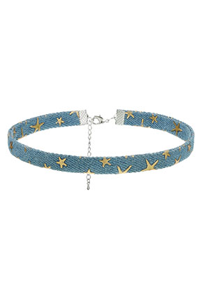 www.sayila.fr - Choker avec étoiles 30-36cm, 1cm largeur