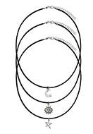 www.sayila-perlen.de - Mix Halsketten mit Anhänger Sonne, Mond und Stern 42-47cm - J04513