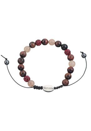 www.sayila.com - Natural stone bracelet with strass beads 16,5-24cm