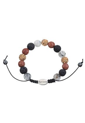 www.sayila-perlen.de - Naturstein Armband mit Strass Perlen 16,5-24cm
