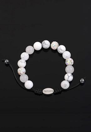 www.sayila.fr - Bracelet en pierre naturelle avec perles en strass 16,5-24cm