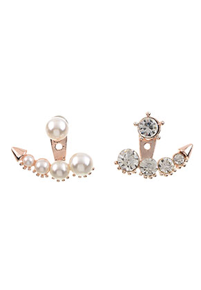 www.sayila.com - Metal ear jackets with strass and pearls 21x18mm