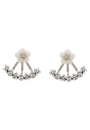 www.sayila.es - Pendientes ear jacket de metal con strass 18x16mm