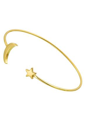 www.sayila.be - Brass cuff armband met maan en ster 17,5cm