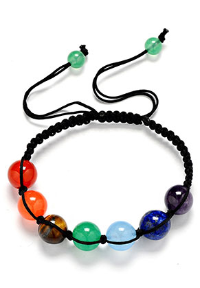 www.sayila.nl - Macramé armband met natuursteen Rainbow Chakra