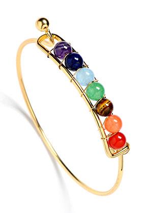 www.sayila-perlen.de - Brass Armband mit Naturstein Rainbow Chakra 19cm