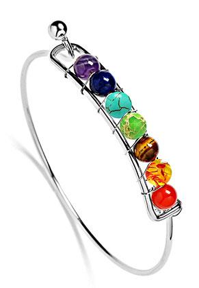 www.sayila.be - Brass armband met natuursteen Rainbow Chakra 19cm