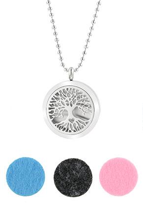 www.sayila.nl - Roestvrijstalen DoubleBeads EasySwitch parfum medaillon halsketting set DQ 80cm