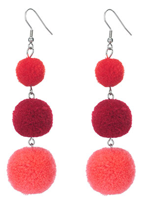 www.sayila.com - Bonbon earrings with pompoms 94x25mm